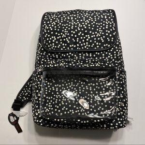 NWT Womens Bookbag Backpack Polka Dot Black Pouch